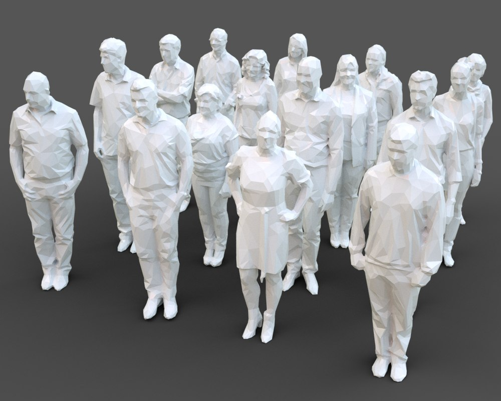 architectural stylized human character 3D model
