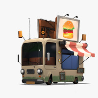 Cartoon Burger Bus