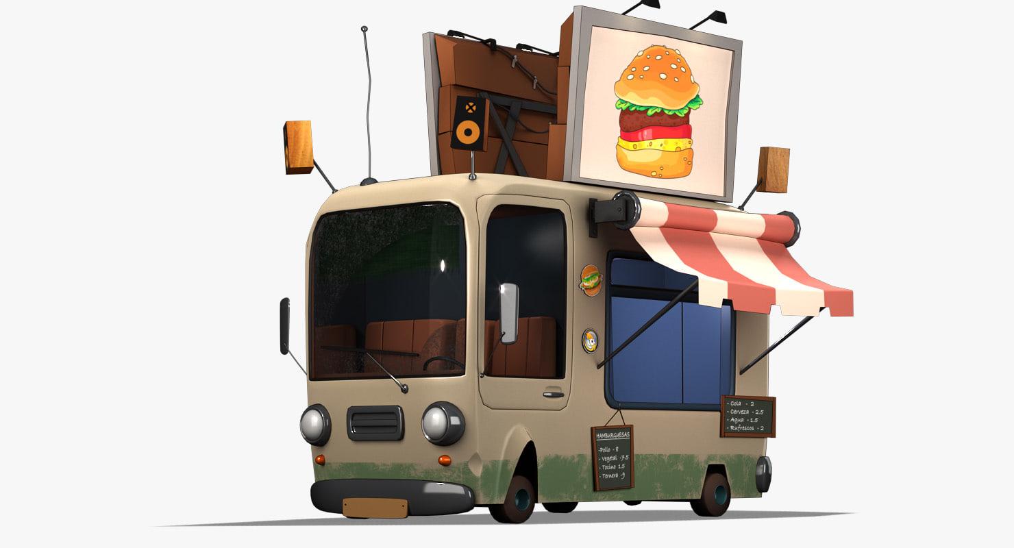 cartoon burger bus 3D model