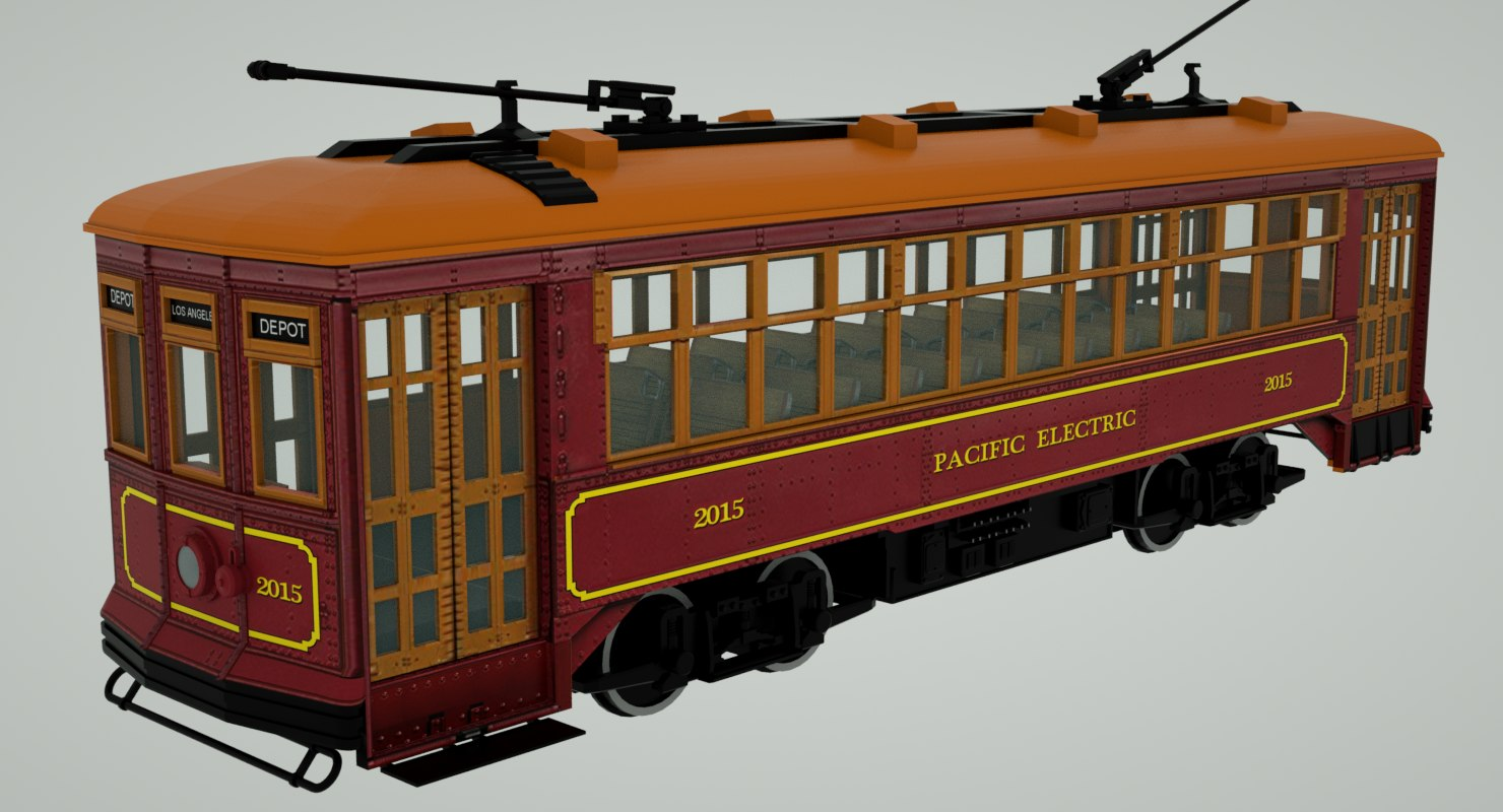 pacific electric streetcar 2015 3D model