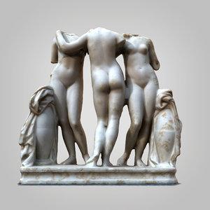 3D graces sculpture scanned