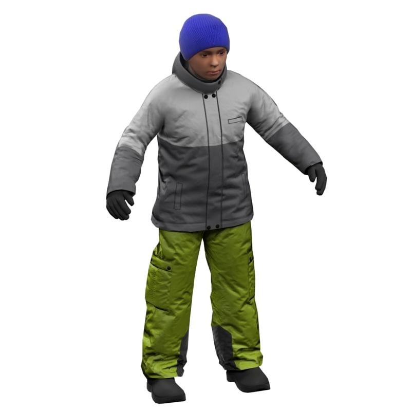 boy winter clothes 3D