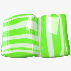 3D candy stripe green model