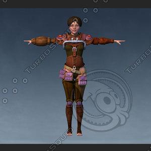 3D girl worrior model