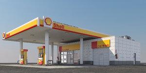 3D model shell gas station