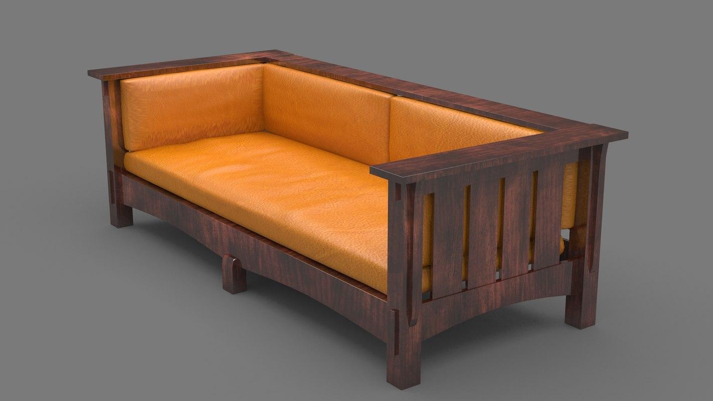3D wooden sofa
