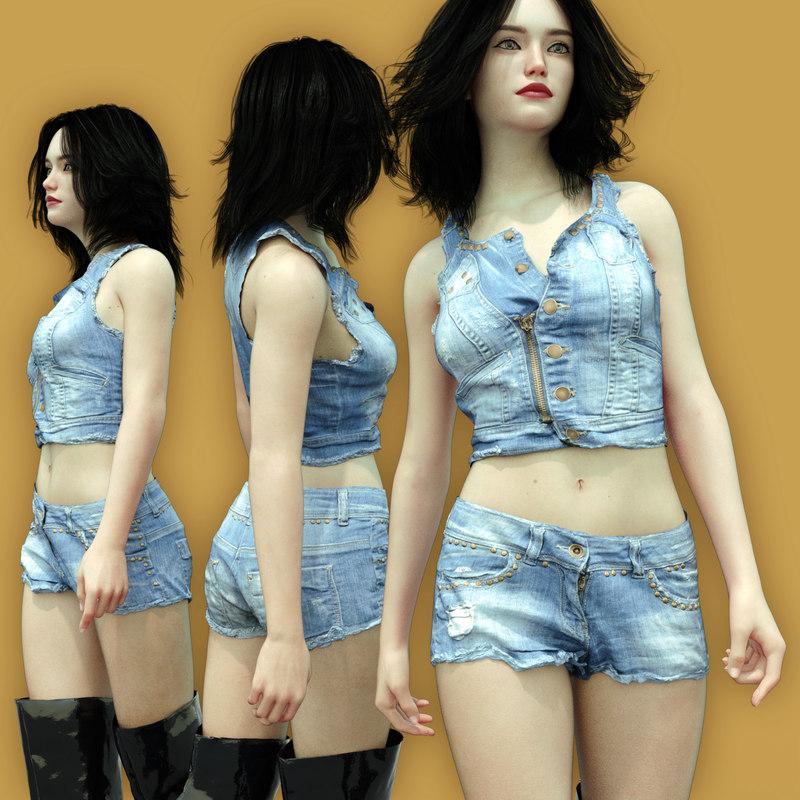 jeans jacket character 3D model