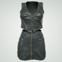 3D leather skirt