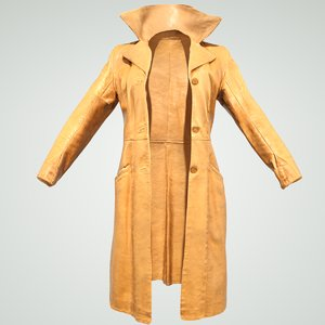 woman brown leather coat 3D model