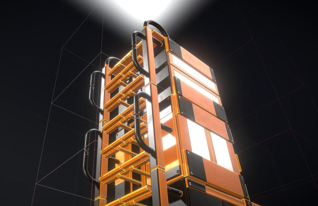 3D model modular ladder floor