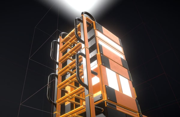 3D model modular ladder floor