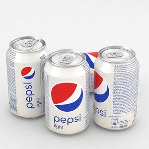 beverage pepsi light 330ml 3D model
