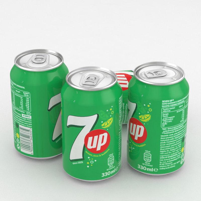 beverage 7up 330ml 3D model