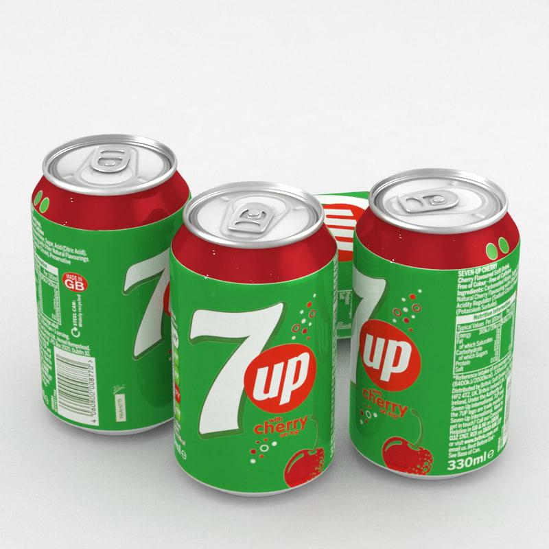 3D beverage 7up cherry 330ml model