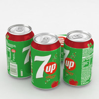 3D beverage 7up cherry 330ml model