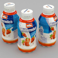 dairy bottle mullermilch strawberry 3D model