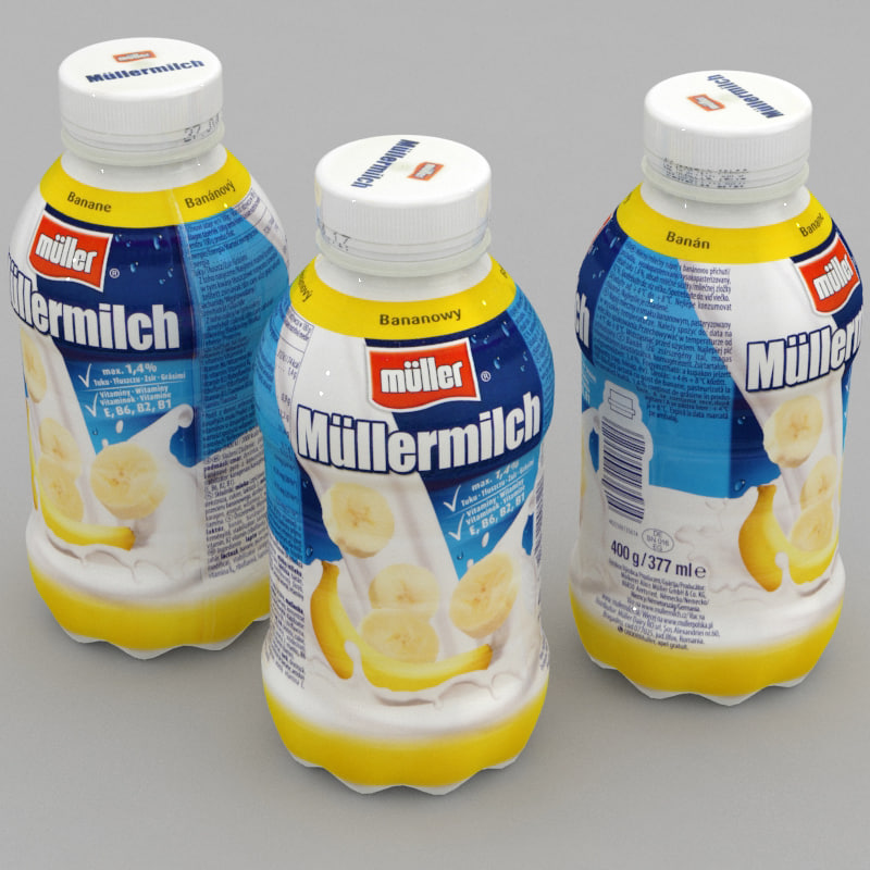 3D model dairy bottle mullermilch banana