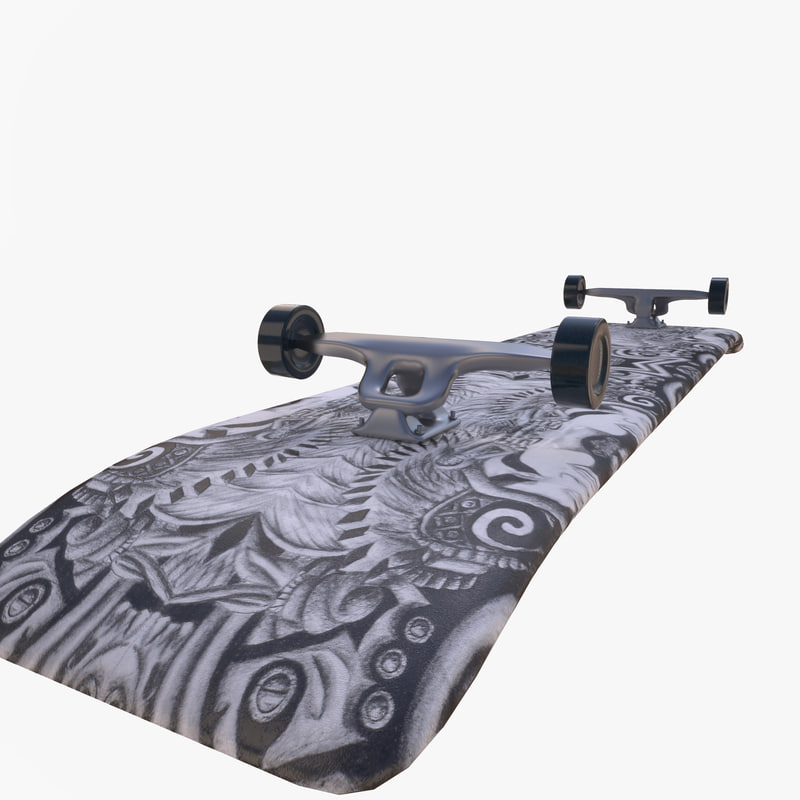 realistic skateboard 3D model