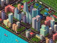3D buildings cars road