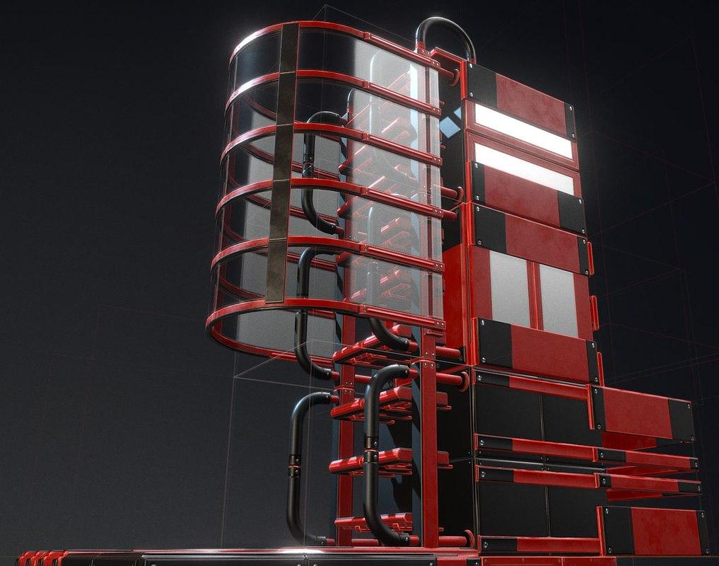 3D modular ladder red glass