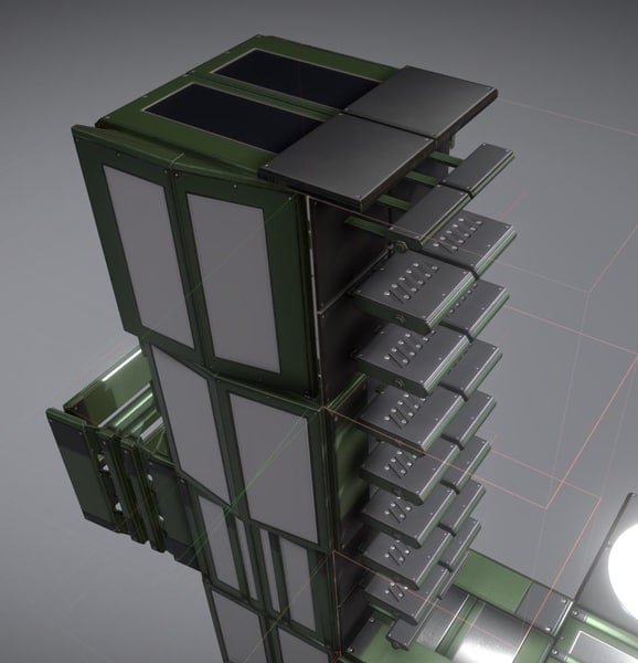 ladder green set floor 3D model