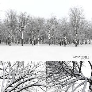 snowy trees 2 snow landscape 3D model