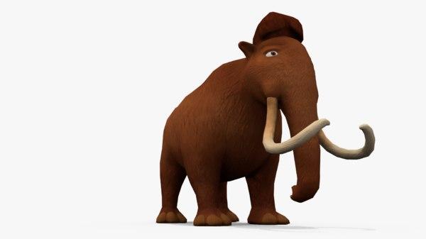 3D model cartoon mammoth