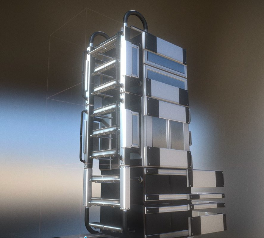 ladder silver set floor 3D model