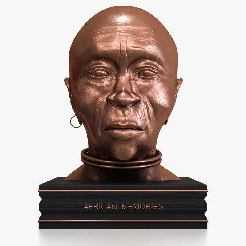 bronze african bust 3D model