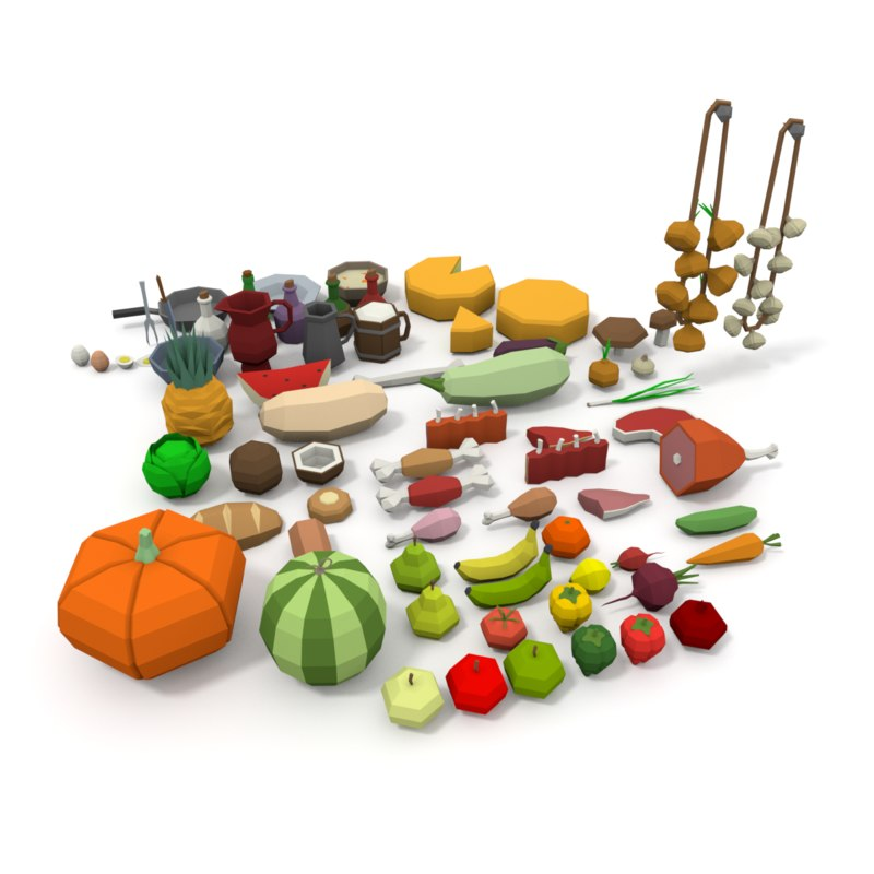 Pack food 3d 1148105 turbosquid for Food bar 3d model