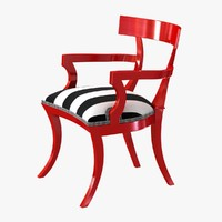 chair red paint finish 3D
