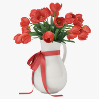 Vase with tulips red
