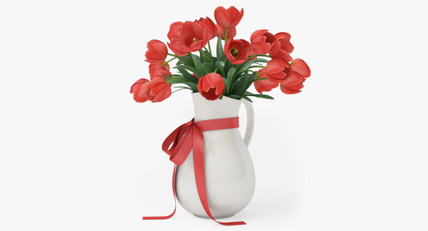 red tulips vase 3D model