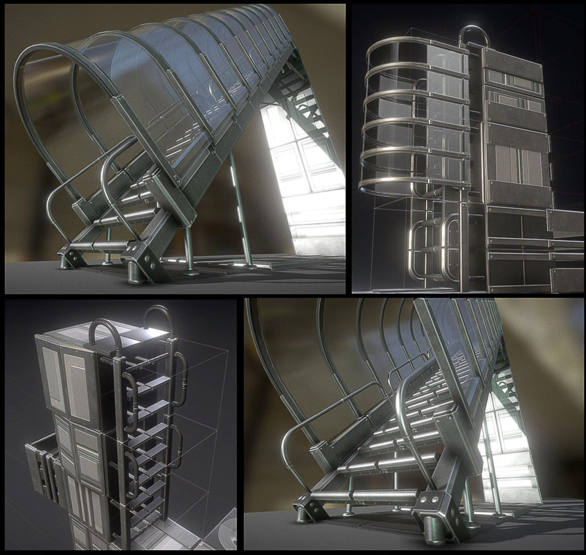 3D sci-fi ladders stairs basic