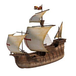 spanish medieval boat 3D model