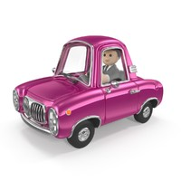 Cartoon car with driver