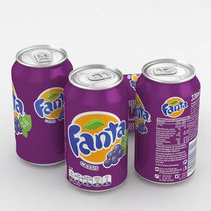 beverage fanta blackcurrant 330ml 3D model