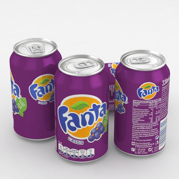 beverage fanta blackcurrant 330ml 3D model