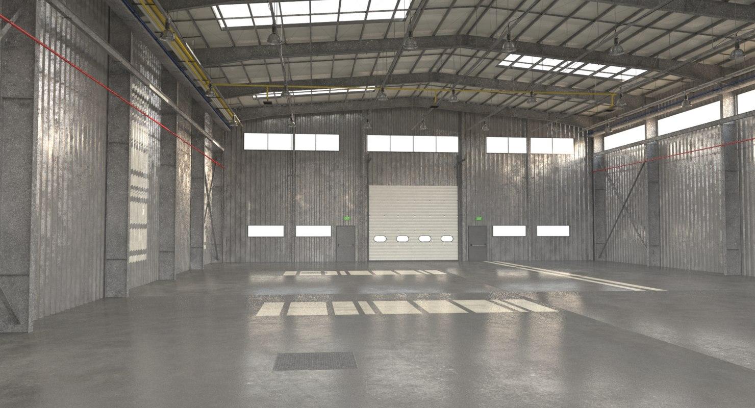 Wonderful Warehouse Interior 3D Model