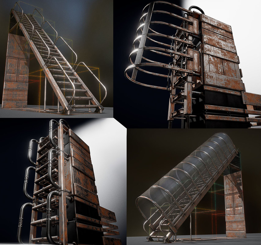 3D model sci-fi ladders stairs rusty