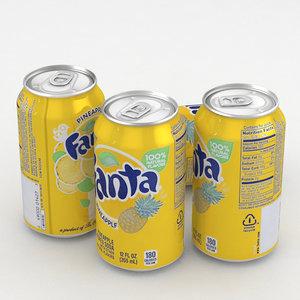 beverage fanta pineapple 330ml 3D