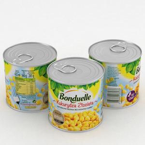 bonduelle corn 425g 3D model