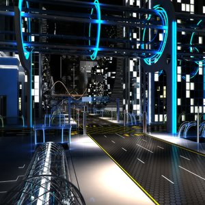 3D night future street city