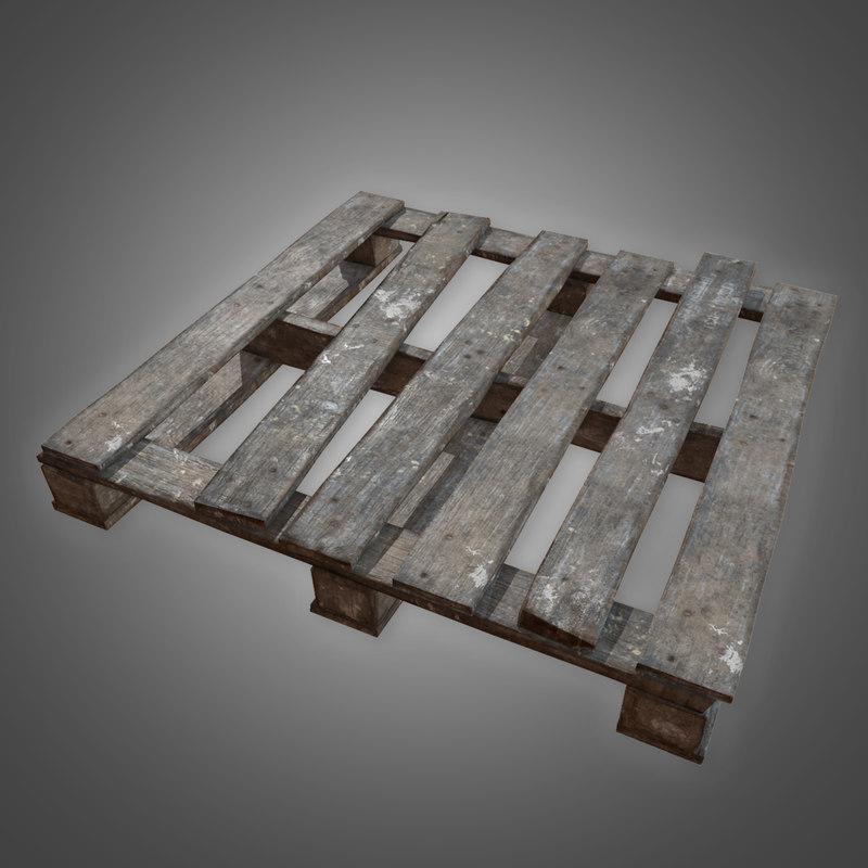3D old wooden pallet 2