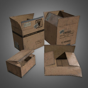 cardboard boxes set 1 3D