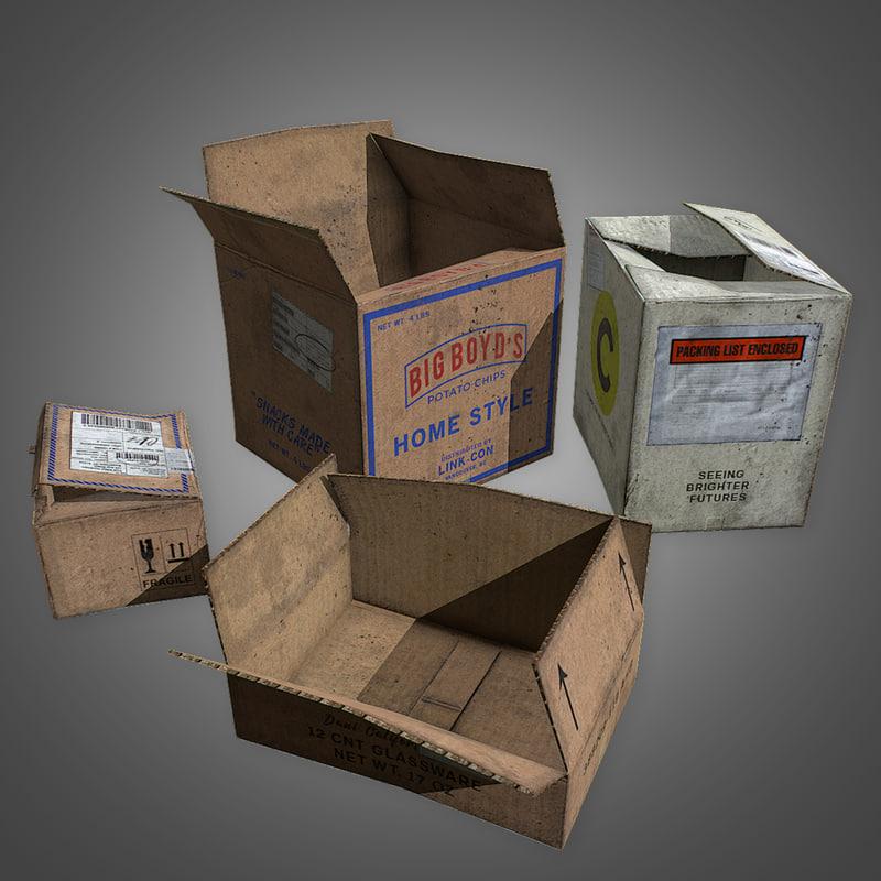 3D cardboard boxes set 2
