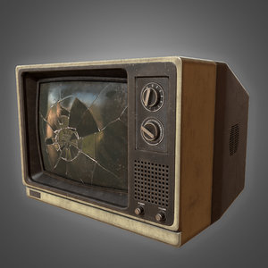3D retro busted television - model