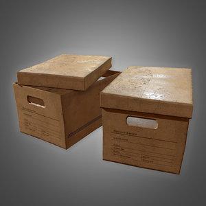 cardboard boxes set 3 3D