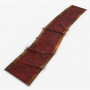3D old red carpet model