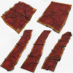 3D model old red carpet pbr